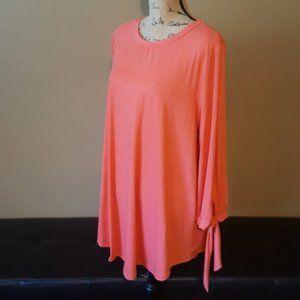 Reborn J Peach Tie 3/4 Sleeve Soft Tunic Top 3X